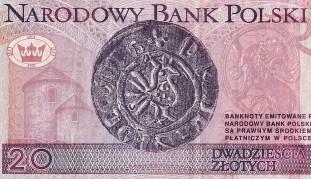 Ausschnitt der 20-Złotych-Note mit dem Bergfried auf dem Cieszyner Schlosshügel