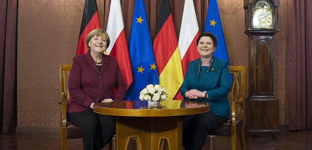 Premierministerin Szydło empfängt Bundeskanzlerin Merkel in Warschau, 7.3.2017 (Foto: P. Tracz / flickr / KPRM / Public Domain)