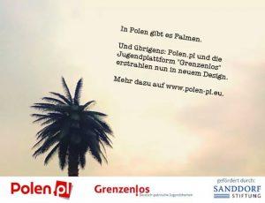 In Polen gibt es Palmen- Werbepostkarte Polen.pl
