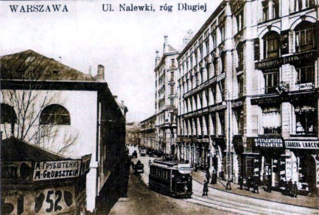 Die Nalewki Ecke Długastrasse 1906 und gut 100 Jahre später 2014