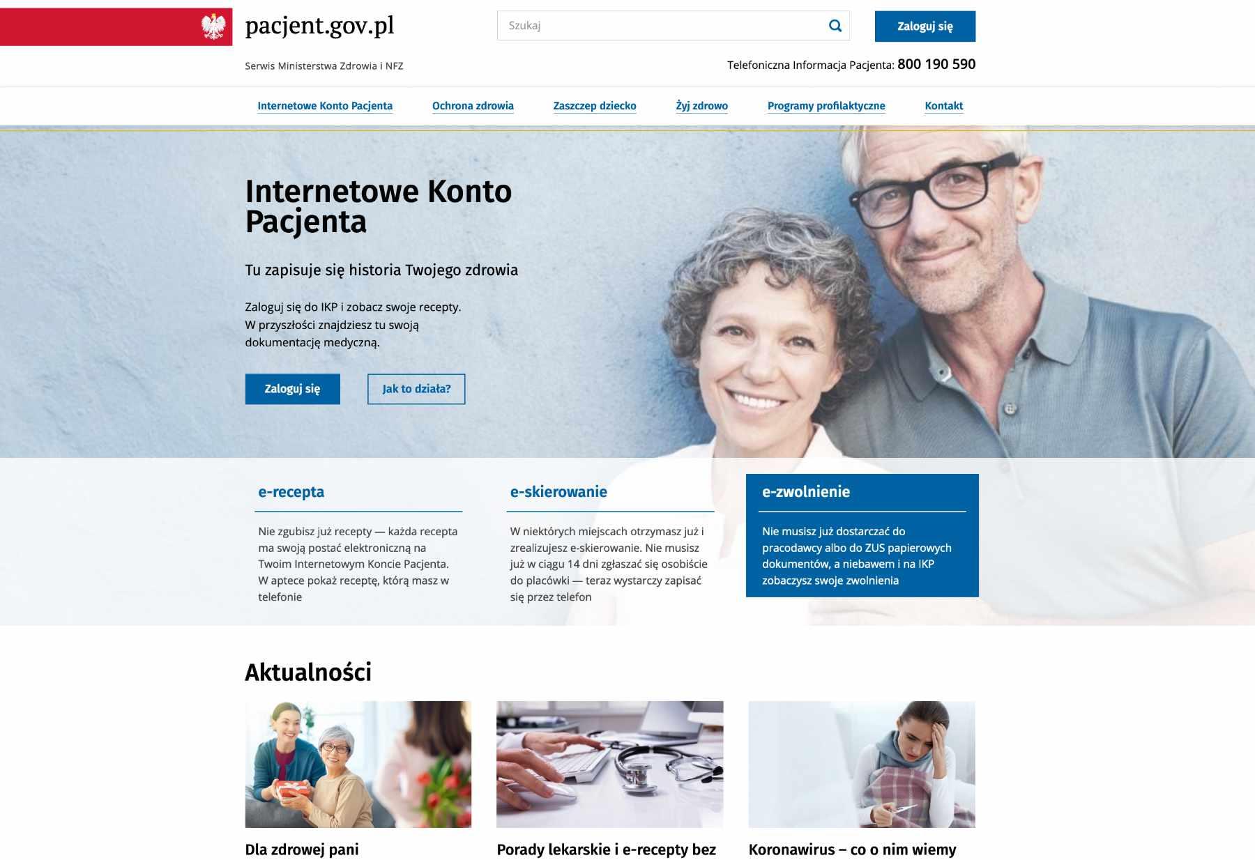 Screenshot Gesundheitsportal Polen. 10.3.2020.