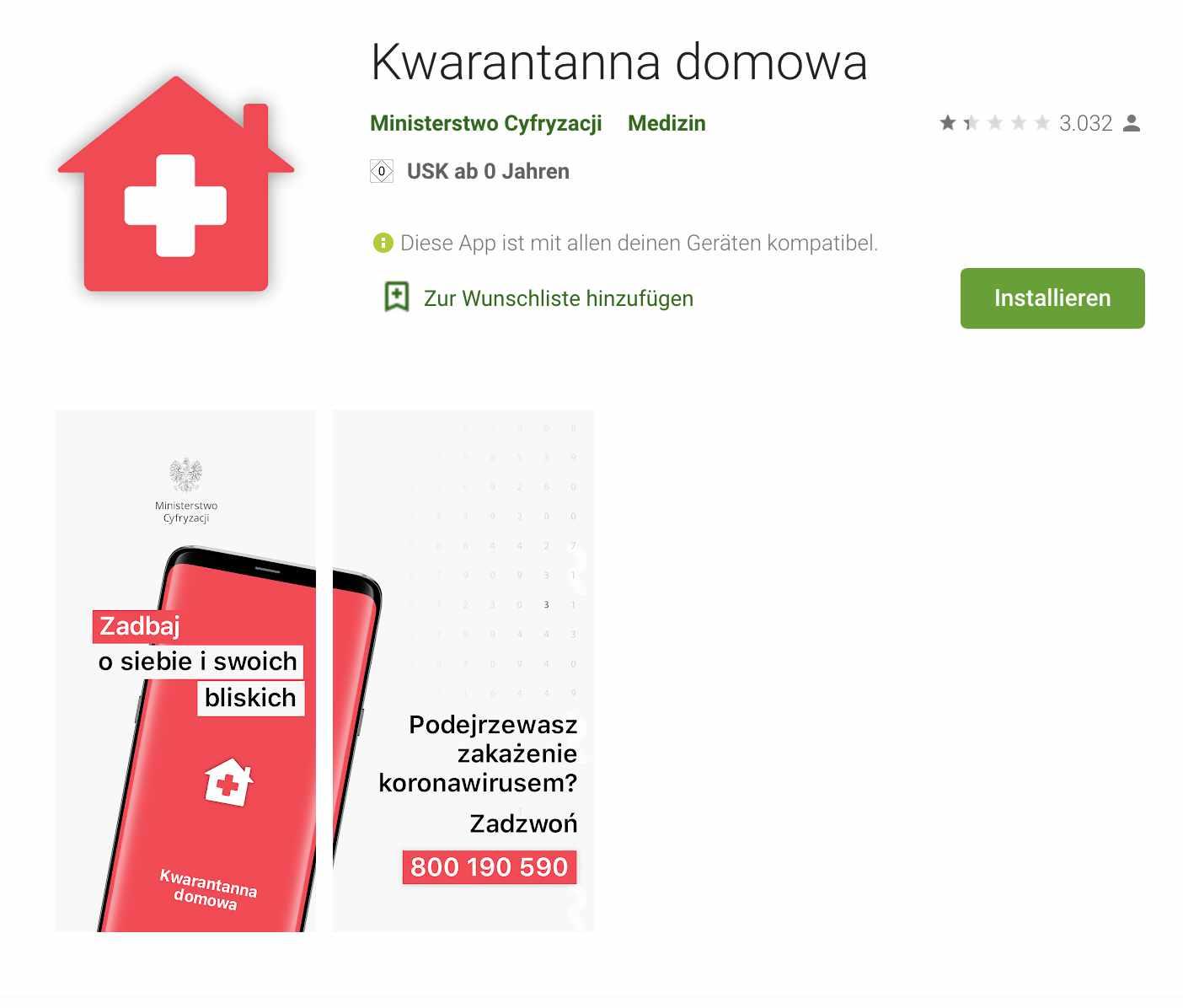 Bildschirmfoto Quarantäne-App im Play Store von Google